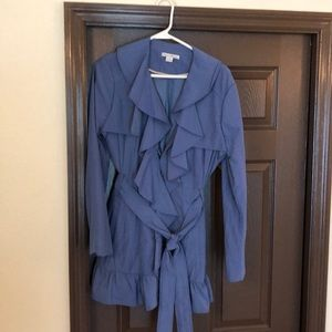Blue ruffle jacket. Perfect for fall.